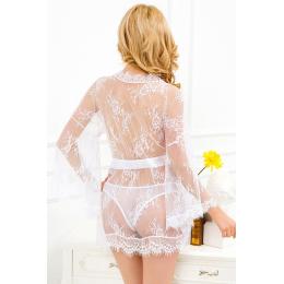 Déshabillé sexy blanc transparent